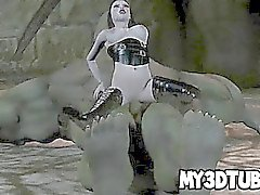 Bebé gótico astuto de 3D follada disco en un orco