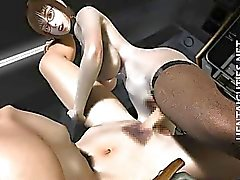 Hot 3D hentai babe in glasses ride dick