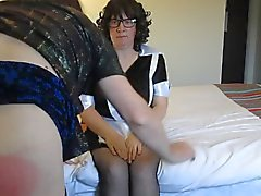 French Maid Gives Transvestite A Hard OTK Spanking