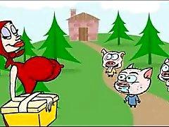 Piccolo cappuccio di guida rosso xxx cartone animato