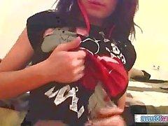 Beautiful emo girlfriend solo action