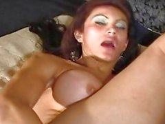 luciana is playing with a big dildo