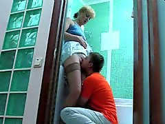 Russian NOT mom and NOT her son fuck in the bathroom