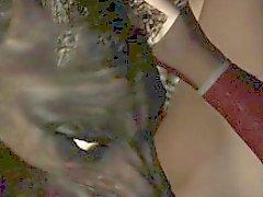 3D di Brunette leccare e scopare da un lupo mannaro