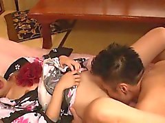 Oriental babe takes large cock doggystyle in her hairy twat