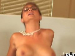 glasses wearing librarian gets her pussy plowed