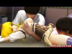 Encadenados del hentai 3D de pone coño dedos e chupar grandes tetas dos tíos