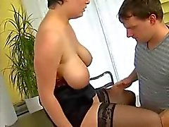 German mature, busty MILF and skinny teen fucked