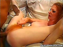Sexy Redhead Take Hairy Pussy Filling