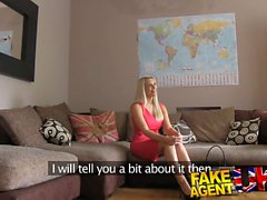 Fake Agent UK Blonde bombshell swallows agents huge cumload