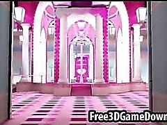 Härlig 3d tecknad rosa palats där att du kan fan