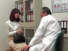 Brunette chick visits a doctor