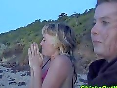 Blonde girlfriend fucked on the beach at sunset