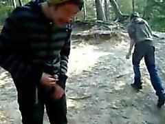 pissing, jerking, sucking, cumming outdoors in the woods