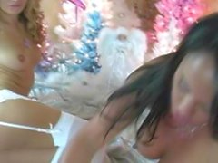 Christmas Xmas Lesbian Sluts in Lingerie Pussy Licking