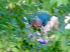 dude is eating a pussy in the forest. Russia, real video