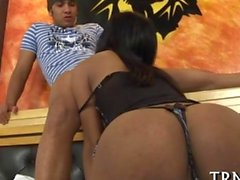 Busty Mexican tranny babe dines on a schlong