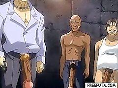 Hentai shemale in leash gets gangbanged