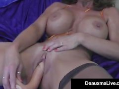 Hot Cougar Deauxma Dildo Fucks Her Pussy & Squirts!