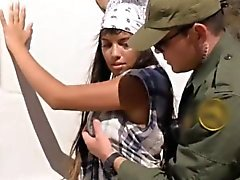 Hot latina with big boobs screwed in border patrol car