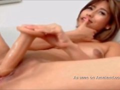 Asian webcam cutie solo with a dildo