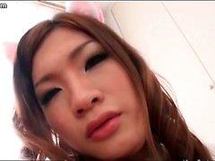 Futanari cutie sharing a dick