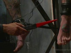 Pro Dom Ruckus Takes The 30 Pound Flogger and Lives To Tell About It
