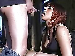 Slutwife drinks piss outdoors