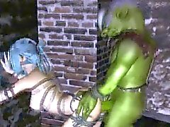 3D elf babe getting fucked outdoors by a goblin