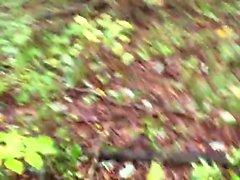 pene non tagliata di cumming all'aperto luoghi pubblici dei boschi di