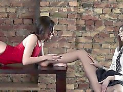 Amazing lesbians bang with strapon
