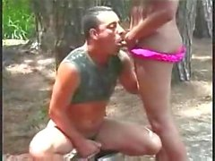 Amateur sex with a TS in a forest