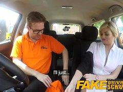 Fake Driving School Posh busty blond examinator fucks