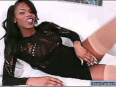 Ebony shemale Brooke Morgan jerking off her big black cock
