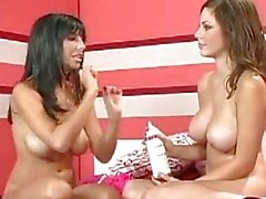 Hotties Jaime Hammer and Jessica Kramer playing their huge boobs with cream