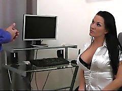 Naughty- bellezze - segretario di di posti di lavoro scala del quickie sperma sulla TI