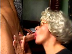 Blonde in sexy lingerie fucked doggystyle