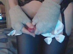 Sevimli Sissy Kedicik Söğüt Hart Oyuncak ve Fişler Ass mastürbasyon yaparken