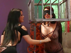 Lesbian sexslave bawdy cleft toyed and fingered
