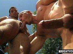 Big cock gay outdoor sex and cumshot