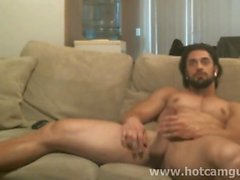 Muscle Bearded Man Cums on Cam