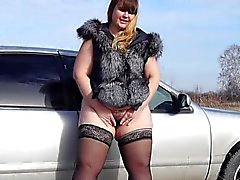 bbw hairy pissing by a pussy by the car 720p