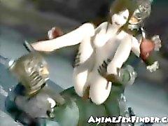 De la muchacha 3D Obtiene DPed mediante malas los caballeros !