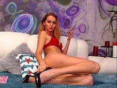 Super Hot Blonde Fille Lingerie Masturbation