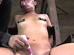 Nipple punished tied up sub toy teased