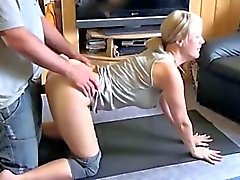 hot blonde amateur fucked during yoga