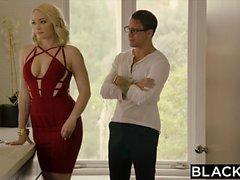 BLACKED Curvy Blonde Trucos en el novio con BBC