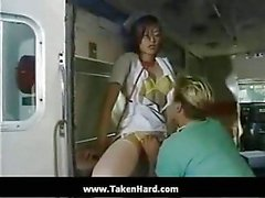 Doctor fucks hot his tranny busty nurse after double sucking