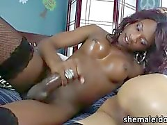 Asian and black shemale anal and facial