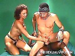 Watch brunette hottie Rasha pleasure two horny bisexual